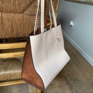 Pink leather bag with brown suede sides